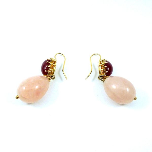 Cabochon Ruby, Diamond and Rose Quartz Earrings Image 2 Joint Venture Jewelry Cary, NC