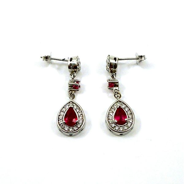 Ruby and Diamond Halo Style Drop Earrings Image 2 Joint Venture Jewelry Cary, NC