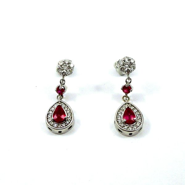 Ruby and Diamond Halo Style Drop Earrings Joint Venture Jewelry Cary, NC