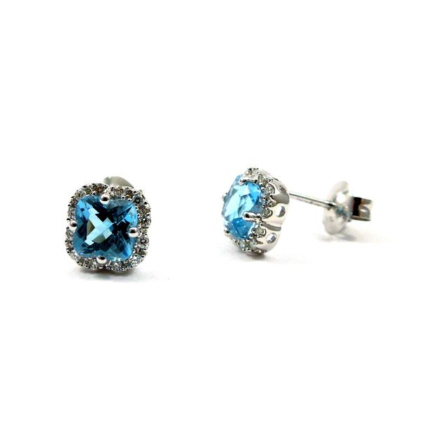 Blue Topaz and Diamond Stud Earrings Image 2 Joint Venture Jewelry Cary, NC