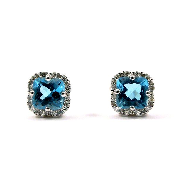 Blue Topaz and Diamond Stud Earrings Joint Venture Jewelry Cary, NC