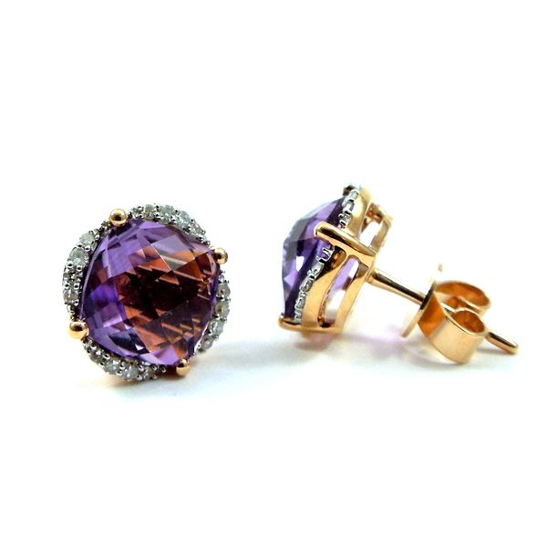 Amethyst and Diamond Earrings Image 2 Joint Venture Jewelry Cary, NC