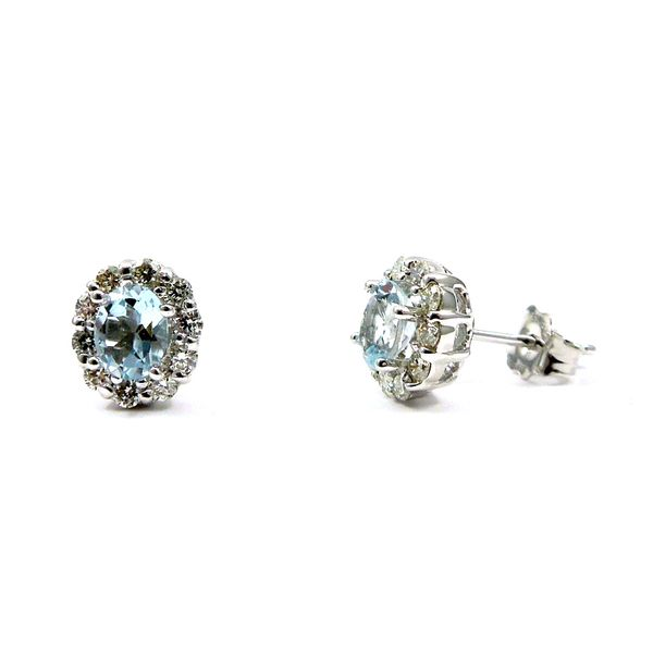 Aquamarine and Diamond Stud Earrings Image 2 Joint Venture Jewelry Cary, NC