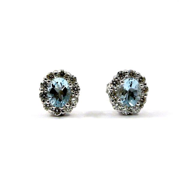 Aquamarine and Diamond Stud Earrings Joint Venture Jewelry Cary, NC
