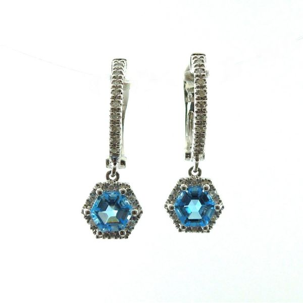 Hexagon Blue Topaz and Diamond Earrings Image 2 Joint Venture Jewelry Cary, NC