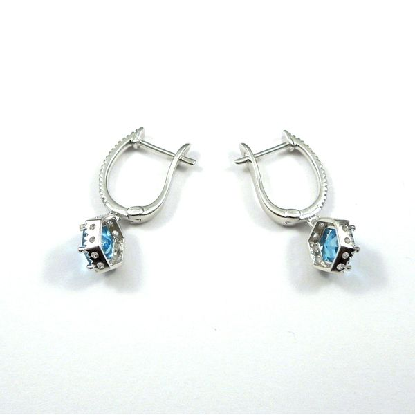 Hexagon Blue Topaz and Diamond Earrings Image 3 Joint Venture Jewelry Cary, NC