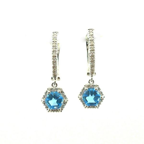Hexagon Blue Topaz and Diamond Earrings Joint Venture Jewelry Cary, NC