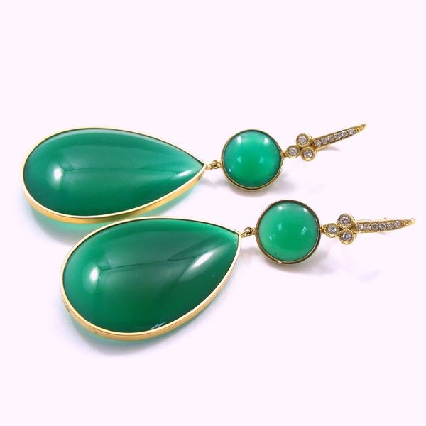 Large Green Onyx and Diamond Dangle Drop Earrings Image 2 Joint Venture Jewelry Cary, NC