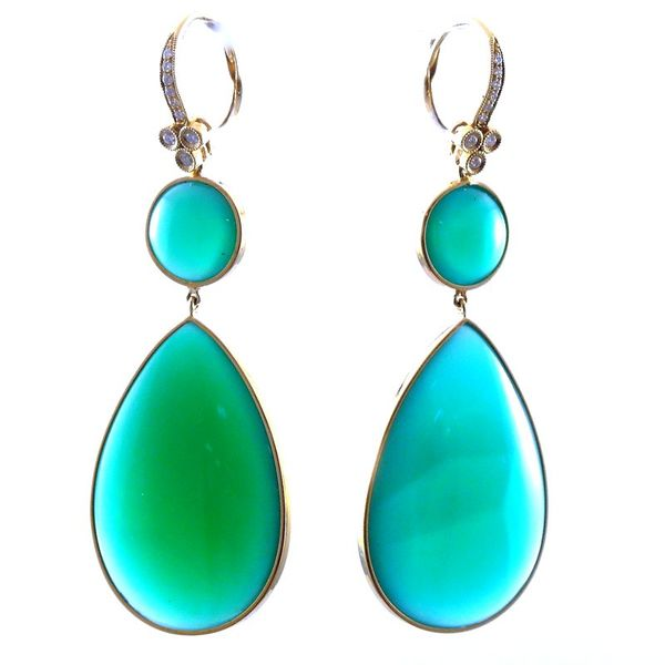 Large Green Onyx and Diamond Dangle Drop Earrings Joint Venture Jewelry Cary, NC