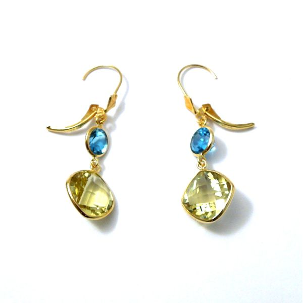 Citrine and Blue Topaz Dangle Earrings Image 2 Joint Venture Jewelry Cary, NC