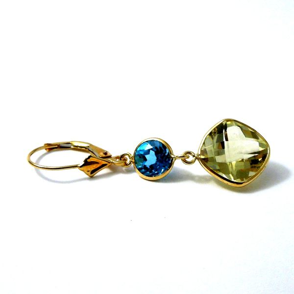 Citrine and Blue Topaz Dangle Earrings Image 3 Joint Venture Jewelry Cary, NC