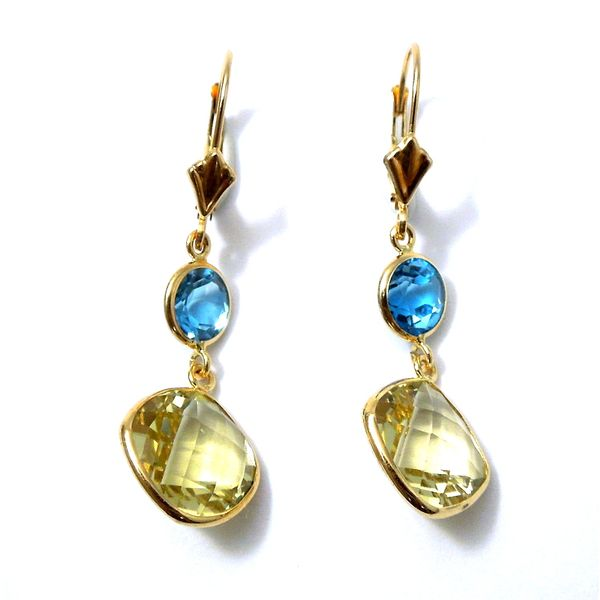 Citrine and Blue Topaz Dangle Earrings Joint Venture Jewelry Cary, NC