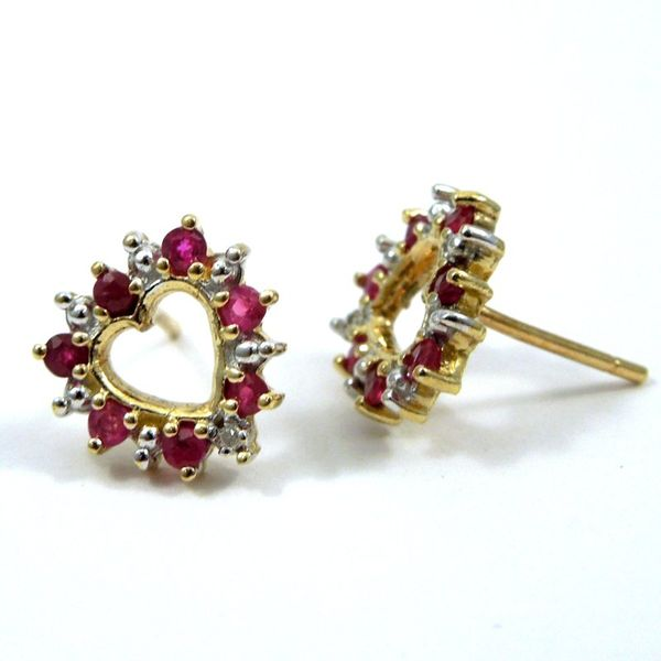 Heart Shaped Ruby & Diamond Earrings Image 2 Joint Venture Jewelry Cary, NC