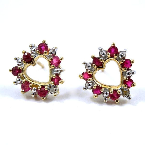 Heart Shaped Ruby & Diamond Earrings Joint Venture Jewelry Cary, NC