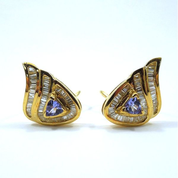 Tanzanite and Diamond Stud Earrings Joint Venture Jewelry Cary, NC