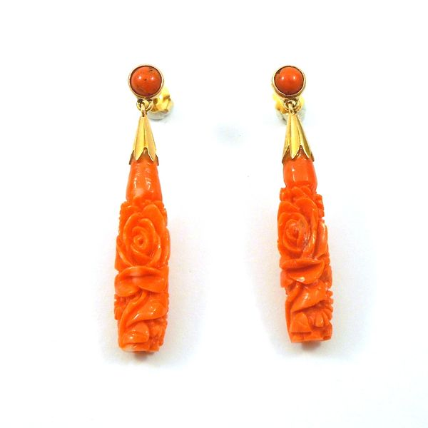 Vintage Carved Coral Drop Earrings Joint Venture Jewelry Cary, NC