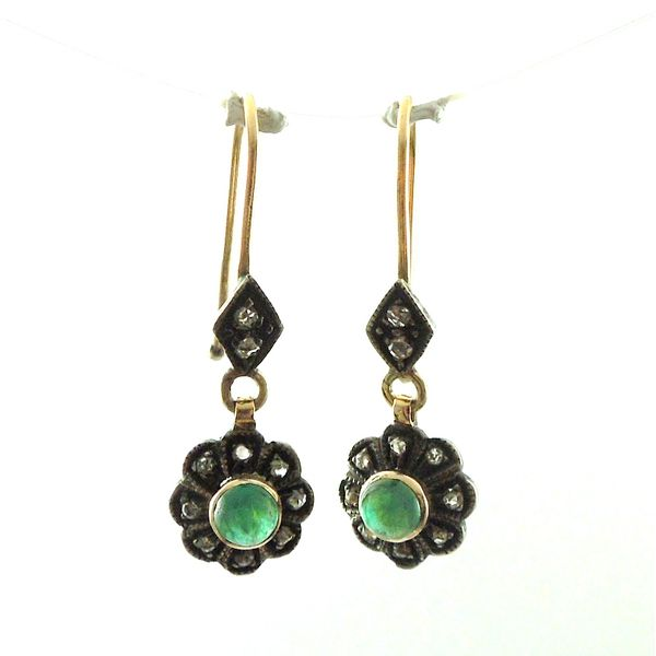 Vintage Cabochon Emerald and Rose Cut Diamond Earrings Joint Venture Jewelry Cary, NC