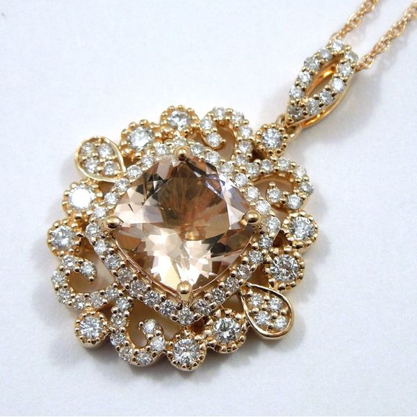 Morganite and Diamond Pendant Joint Venture Jewelry Cary, NC