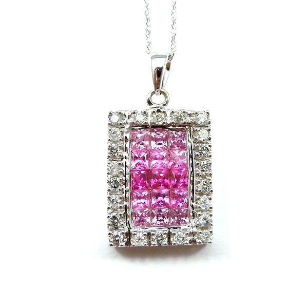 Pink Sapphire and Diamond Square Pendant Image 2 Joint Venture Jewelry Cary, NC