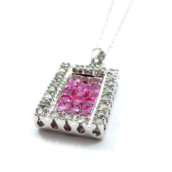 Pink Sapphire and Diamond Square Pendant Image 3 Joint Venture Jewelry Cary, NC