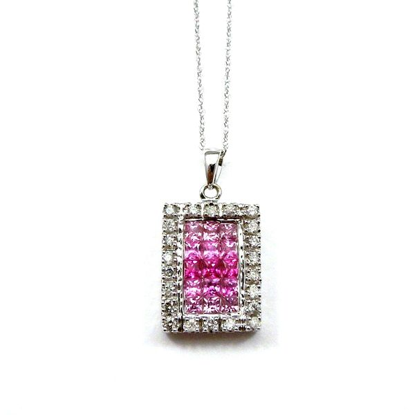 Pink Sapphire and Diamond Square Pendant Joint Venture Jewelry Cary, NC