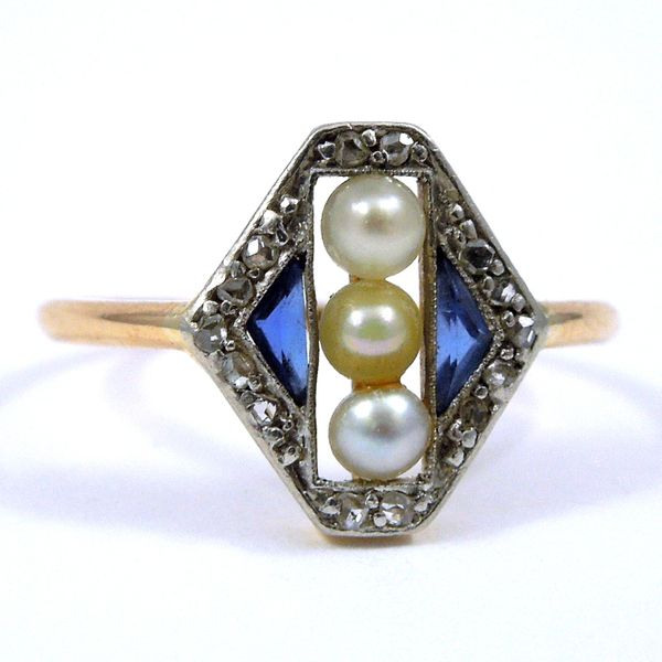 Vintage Small Sapphire, Pearl and Diamond Ring Joint Venture Jewelry Cary, NC