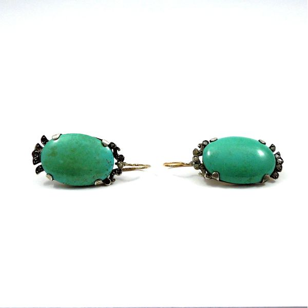 Vintage Large Turquoise Earrings Image 2 Joint Venture Jewelry Cary, NC