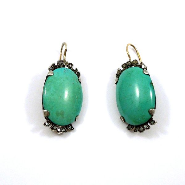 Vintage Large Turquoise Earrings Joint Venture Jewelry Cary, NC