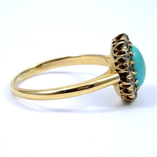 Vintage Turquoise and Diamond Ring Image 2 Joint Venture Jewelry Cary, NC