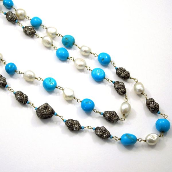 Black Diamond, Turquoise and Pearl Long Necklace Image 2 Joint Venture Jewelry Cary, NC