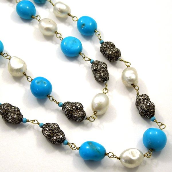 Black Diamond, Turquoise and Pearl Long Necklace Joint Venture Jewelry Cary, NC