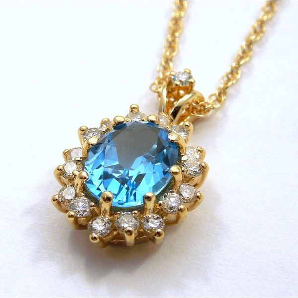 Blue Topaz and Diamond Necklace Image 2 Joint Venture Jewelry Cary, NC