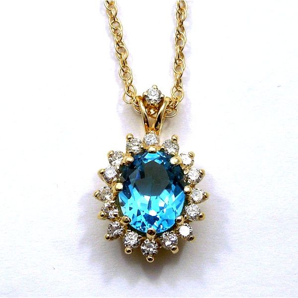 Blue Topaz and Diamond Necklace Joint Venture Jewelry Cary, NC