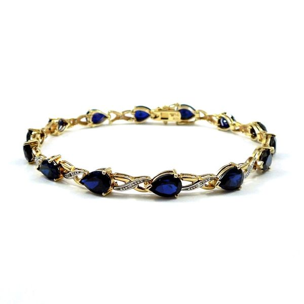 Synthetic Pear Cut Sapphire Bracelet Joint Venture Jewelry Cary, NC