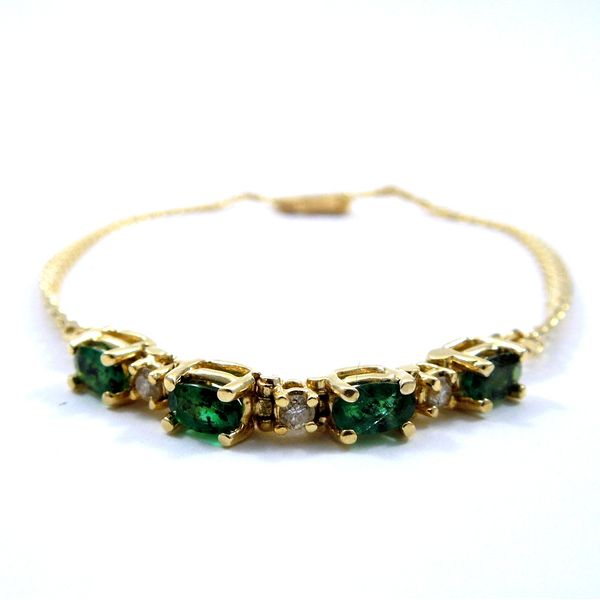 Four Stone Emerald and Diamond Bracelet Image 2 Joint Venture Jewelry Cary, NC