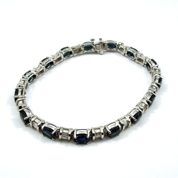 Sapphire and Diamond Line Bracelet Image 2 Joint Venture Jewelry Cary, NC