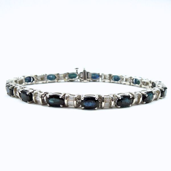 Sapphire and Diamond Line Bracelet Joint Venture Jewelry Cary, NC