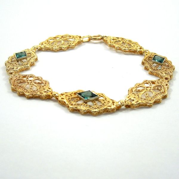 Vintage Inspired Blue Topaz Bracelet Image 2 Joint Venture Jewelry Cary, NC