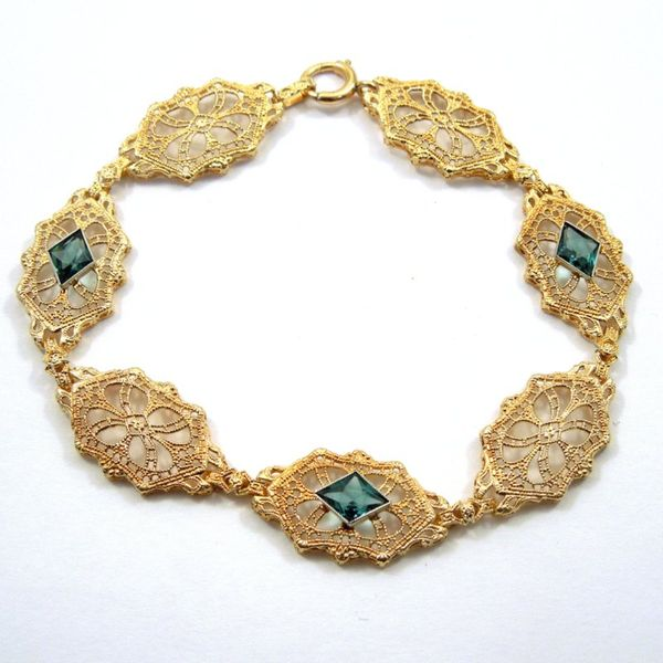 Vintage Inspired Blue Topaz Bracelet Joint Venture Jewelry Cary, NC