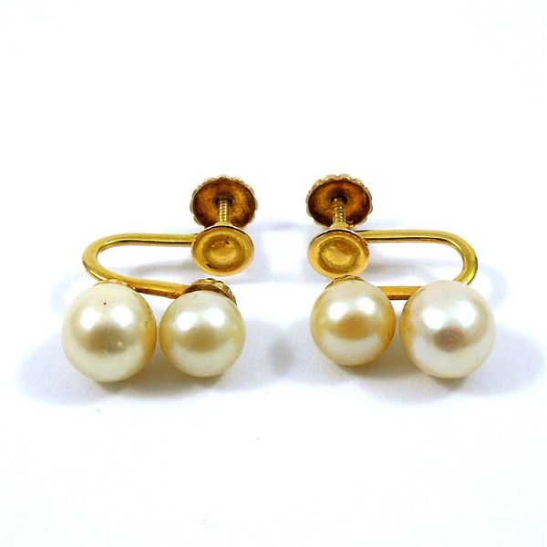 Double Pearl Earrings Image 2 Joint Venture Jewelry Cary, NC