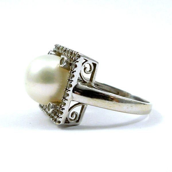 Pearl and Diamond Square Ring Image 2 Joint Venture Jewelry Cary, NC