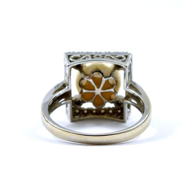 Pearl and Diamond Square Ring Image 3 Joint Venture Jewelry Cary, NC