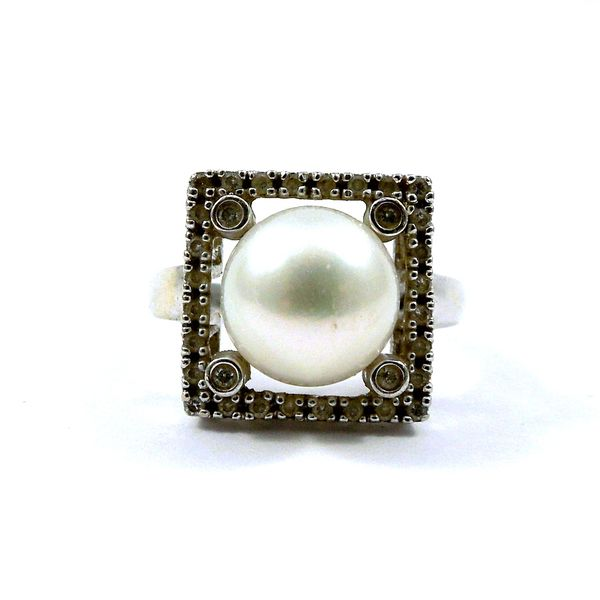 Pearl and Diamond Square Ring Joint Venture Jewelry Cary, NC