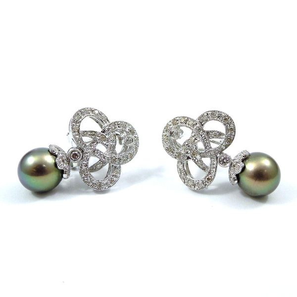 Black Pearl and Diamond Earrings Image 2 Joint Venture Jewelry Cary, NC