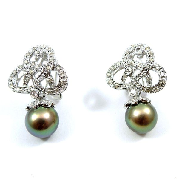 Black Pearl and Diamond Earrings Joint Venture Jewelry Cary, NC