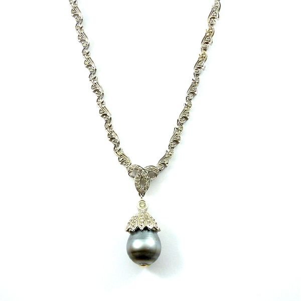 Black Pearl and Diamond Necklace Joint Venture Jewelry Cary, NC