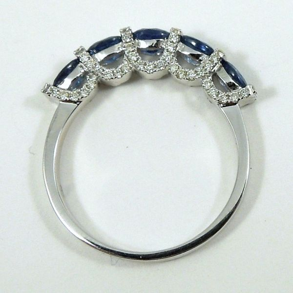 Sapphire & Diamond Wedding Band Image 2 Joint Venture Jewelry Cary, NC