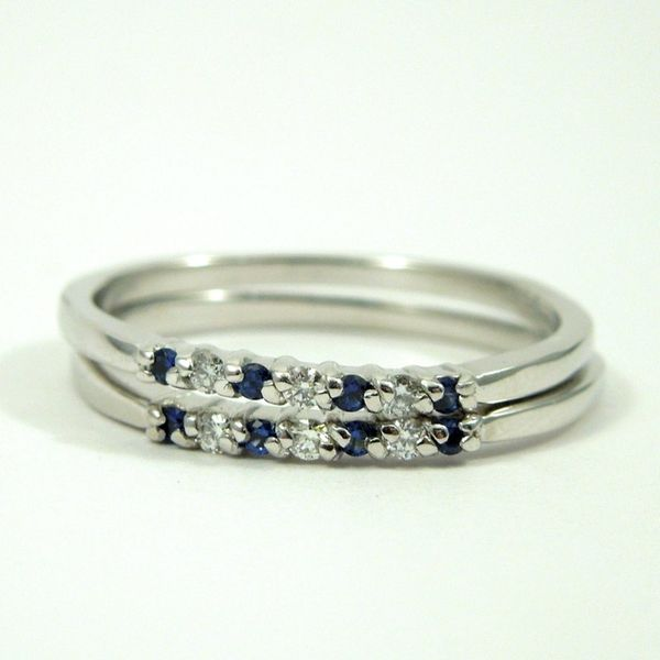 Sapphire and Diamond Wedding Bands Image 2 Joint Venture Jewelry Cary, NC
