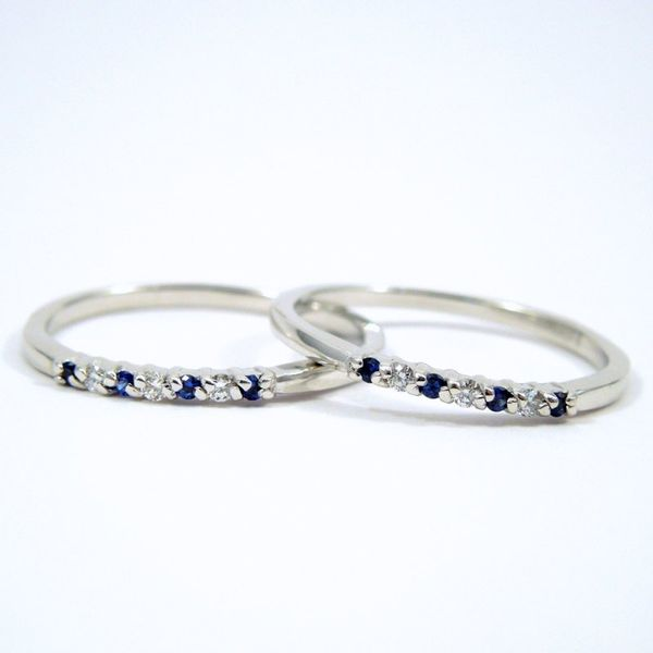 Sapphire and Diamond Wedding Bands Joint Venture Jewelry Cary, NC