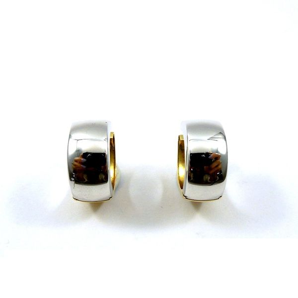 Two Tone Huggie Earrings Joint Venture Jewelry Cary, NC